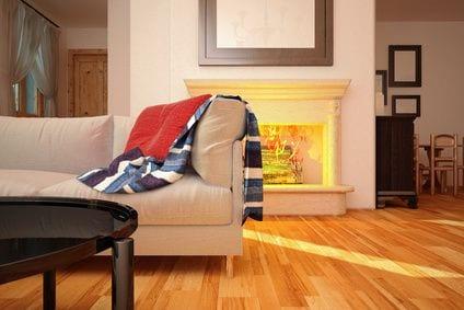 פרקט בסלון מעוצב בסגנון חורפי