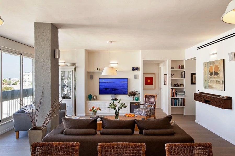 דירה בתל אביב- מבט אל הסלון